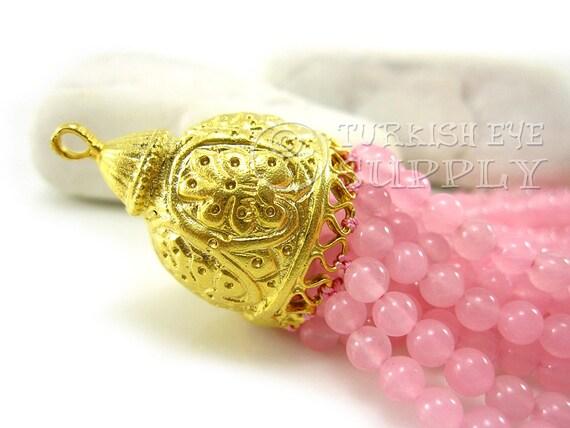 Jade perles Bohème pompon bonnet rose, bonnet pompon en rustique Oriental pompon mat 22K en laiton plaqué or, bijoux turque, gland de pierres précieuses 696a3e