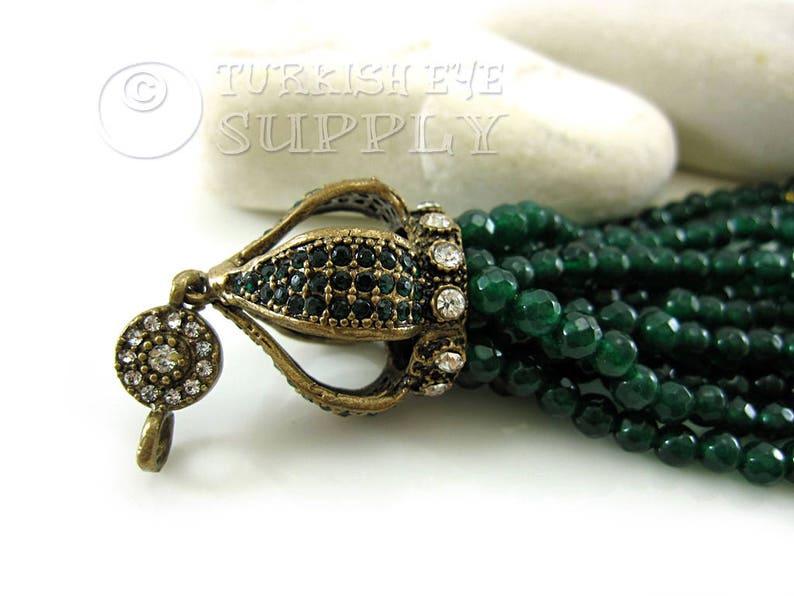 Antique Bronze Ornate Tassel Cap Gemstone Tassel Boho Tassel Jewelry Green Jade Beaded Tassel Tassel Necklace Ottoman Gemstone Jewelry