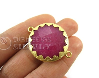 RedViolet Jade Matte 22K Gold Plated Serrated Border Bezel Connector, Turkish Jewelry