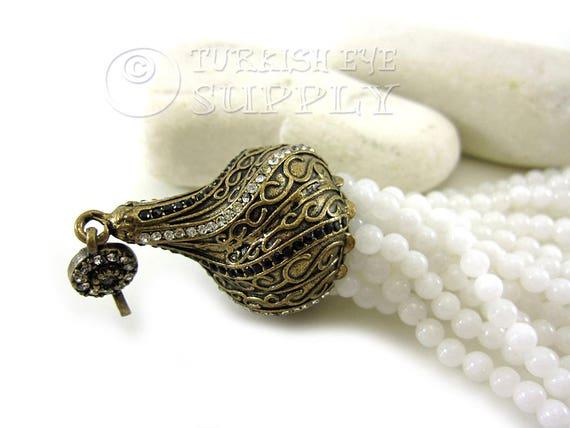 Ottoman Jewelry Gemstone Jewelry Antique Bronze Filigree Cap Gemstone Tassel Beaded Tassel Turkish Tassel Pendant White Jade