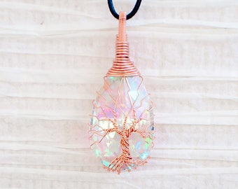 Tree of Life copper wire wrapped Crystal pendant