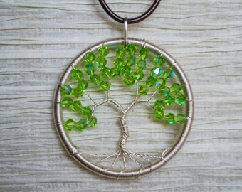Silver coated Copper Wire Wrapped Tree of Life pendant with green crystal accent