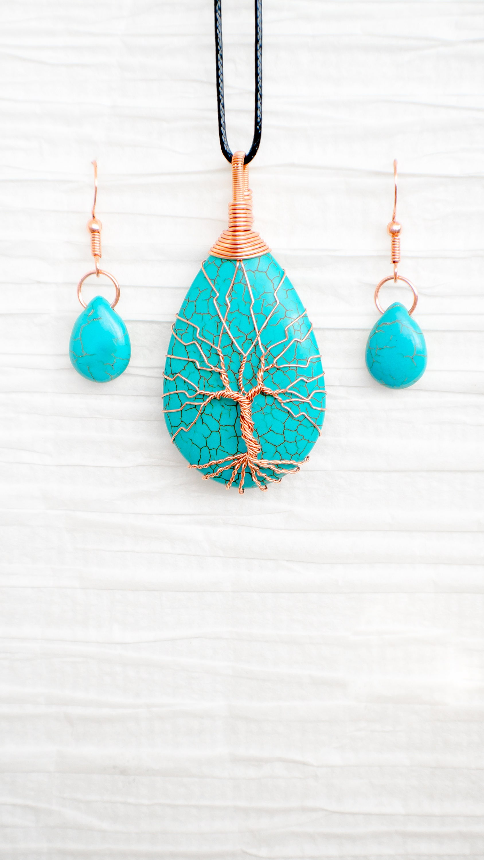 Tree of Life pendant, copper wire wrapped, Turquoise pendant and ...
