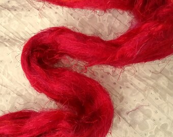 Luxurious Felting etc Silk Sliver /'Grevillea/' 25 grams Soft Pulled Carded Vibrant Red Recycled Sari Silk Fibre for Fibre Arts: Spinning
