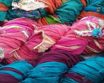 Silk Sari Ribbon Yarn, Chiffon/Georgette, Multicolour Bright, Vibrant Shades 100g approx 50-60 yd/45-55m, variable width 1 inch/25mm avg