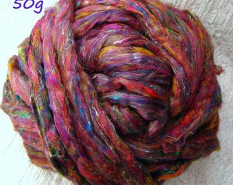 Silk Sliver 'Rainbow Gum' 50grams Soft, Luxurious, Pulled /Carded Multicolour Recycled Sari Silk Fibre for Fibre Arts: Spinning, Felting etc