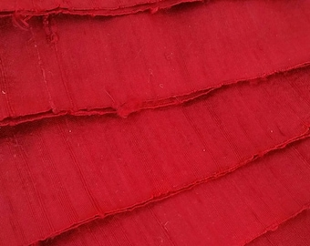 Ruby Shimmer Silk Ribbon by the metre. Upcycled Dupioni Silk Selvedge Offcut Fabric, Crisp, Slubby, Wide Silk Ribbon, Red Sari Ribbon