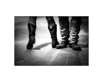 8ea0bbc8e92 Two Step Fine Art Photography Black and White Dancers Western Style Cowboy  boots Out West Saturday night swings Dramatic romantic Country