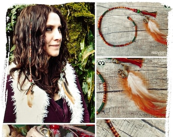 Feathered Hair Braid, Ethical feathers, Squirrel Charm, Feather Hair Wrap, Clip in hair decoration, Wooden beads, Bronze charm, RED SQUIRREL