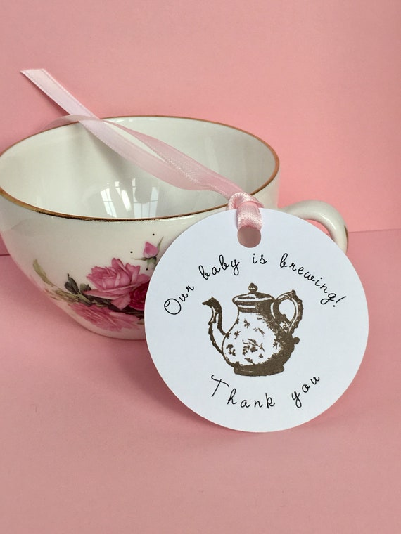 Tea Party Baby Shower Favors Tea Baby Shower Favor Tags 12 Etsy