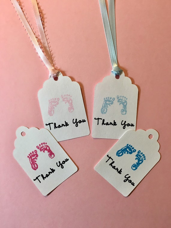 Baby Footprints Baby Shower Tags Set Of 12 Baby Shower Etsy