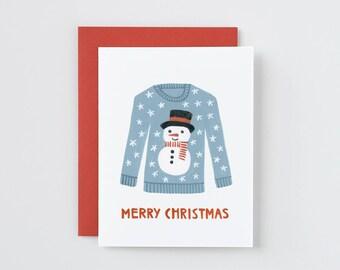 Treat yourself christmas card for singles christmas etsy merry christmas snowman christmas sweater card solutioingenieria Choice Image
