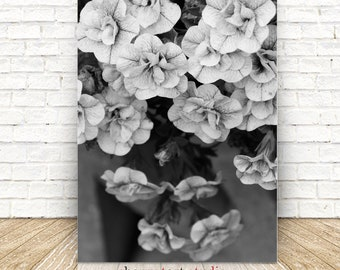 White flower art etsy cascading flowers in black and white flower art printable poster digital download white flowers on gray white flower decor fine art mightylinksfo