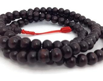 Tibetan Dark Rosewood 108 Beads Stretch Full Mala for Meditation and Yoga