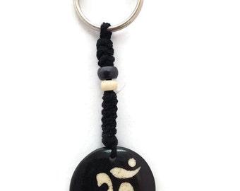 Hindu Om Bone Plate Disc Bead Key Chain
