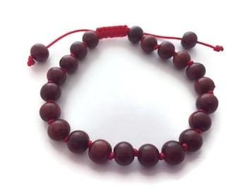 Hand Knotted Rosewood Beads Mala Bracelet Adjustable, Rosewood Beads Bracelet, Wood Beads Bracelet, Meditation Beads, Yoga Beads, Rosewood