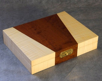 Sapele Pommele and Rippled Sycamore Cufflink Box (made to order) / gifts for men / wooden box / valet box / cufflinks