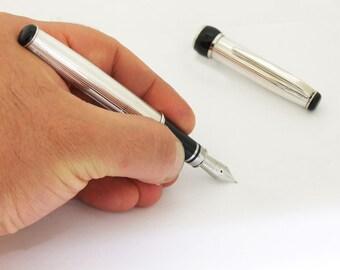 Handmade Fountain Pen Sterling Silver 925 Italian Pen Classic Lines Guillochè Design Pen for Valentine