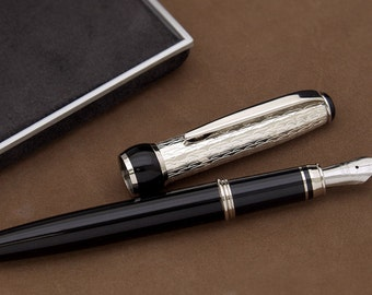 Handmade Fountain Pen in Black Lacquer & Sterling Silver Different Nib Sizes Available Made in Italy