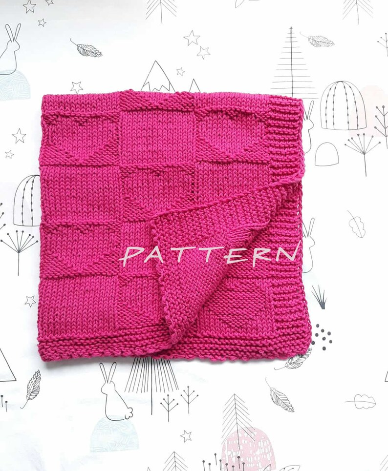 Baby Blanket KNITTING PATTERN Baby blanket double sided  image 0