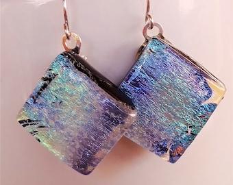 Blue diamond-shaped dichroic glass earrings, handmade