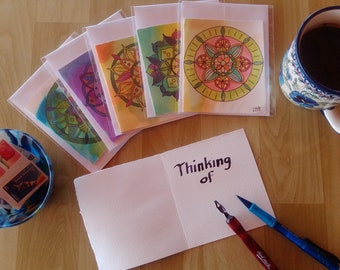 Original Watercolor Mandala blank cards Set of 5