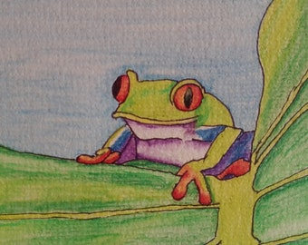 Tree Frog Watercolor blank cards, set of 4