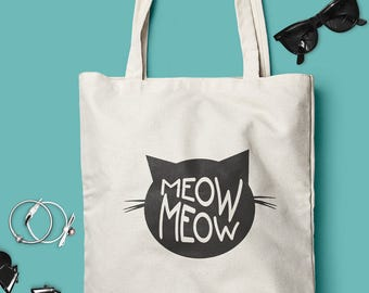 Meow!  Natural Cotton Cat Tote Bag - Choose from 2 different models - Natural or Black Totes