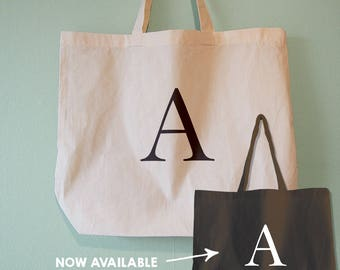 53f86122b085 Personalised Tote Bag   Monogram Bag   Monogram Tote   Alphabet Bag   Initial  Tote   Letter Bag - Natural Cotton Tote Bag   Black Maxi Tote