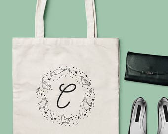 Cat Lover's Monogram Tote Bag - Choose from 2 different models & 2 different Fonts