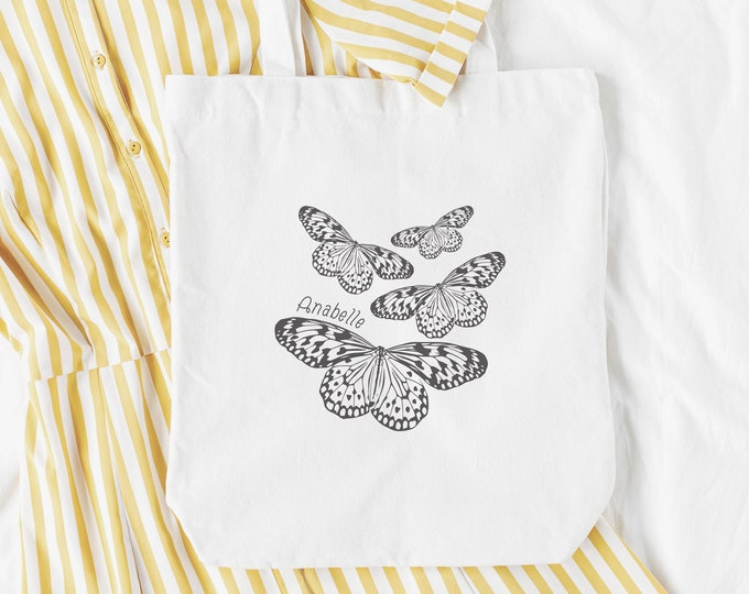 Featured listing image: Butterflies Gift Personalised Name Tote Bag, Cottagecore Bag, Personalised Gift, Countryside aesthetic, birthday gift, hippy, boho, reusable