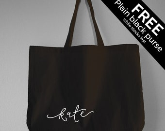 14a52ac1986b Personalised Tote Bag - FREE PURSE - Custom Name Bag   Monogrammed Tote Bag  - Black Cotton Large Tote Bag