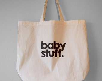 Baby Stuff, Simple, Gorgeous Typographical Natural Cotton Tote Bag/ Large Maxi Bag