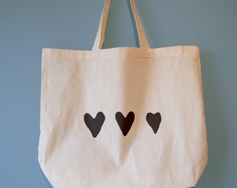 3 Hearts Tote Bag - choose from 2 different models - Heart Bag, Heart Tote