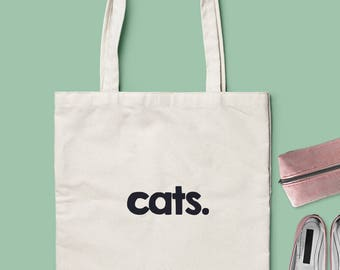 Cat Tote Bag - Choose from 2 Different Models - Natural or Black