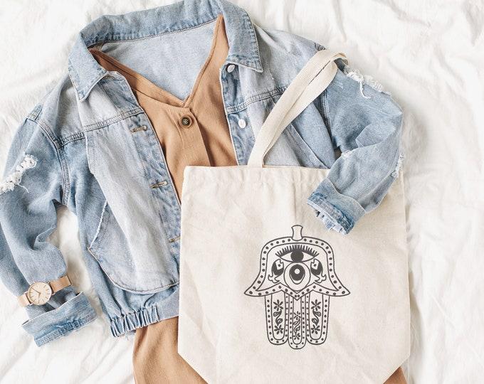 Featured listing image: Egyptian Hamsa Hand - Protective Hand, Evil Eye Protection, Natural Cotton Tote Bag, Eco Gift, Hand of Fatima, Spiritual Gift, Birthday Gift