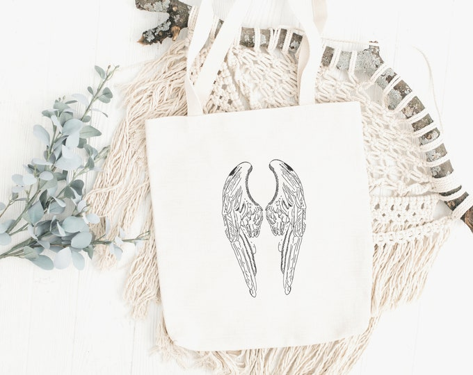 Featured listing image: Angel Wings Tote Bag, Angel Wings Protection Bag, Angel Wings Gift to Wear, Self Gift, Self Care,Cottagecore, Spiritual Journey, Boho, Hippy