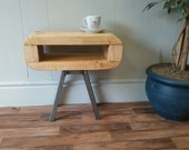 Side table Retro style slim table or bedside table mid century style light oak finish
