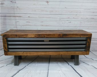 Slim Tv Stand Rustic Chunky Wooden Tv Unit With Metal Legs Etsy