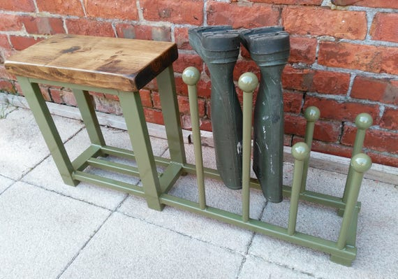 Excellent Welly Rack Boot Rack Hallway Bench With Shoe Rack To Base Rustic Industrial Various Colours Dailytribune Chair Design For Home Dailytribuneorg