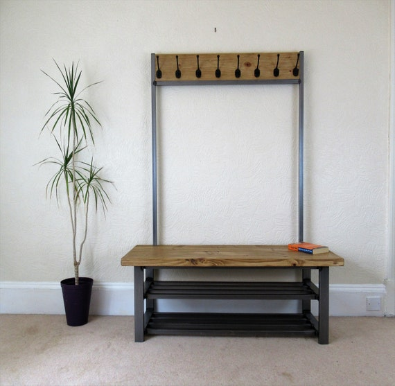 Marvelous Coat Stand With Bench Seat Double Shelf Shoe Storage Very Large Hallway Coat Rack Stand Theyellowbook Wood Chair Design Ideas Theyellowbookinfo