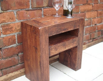 Lovely slim chunky rustic side table or bedside table