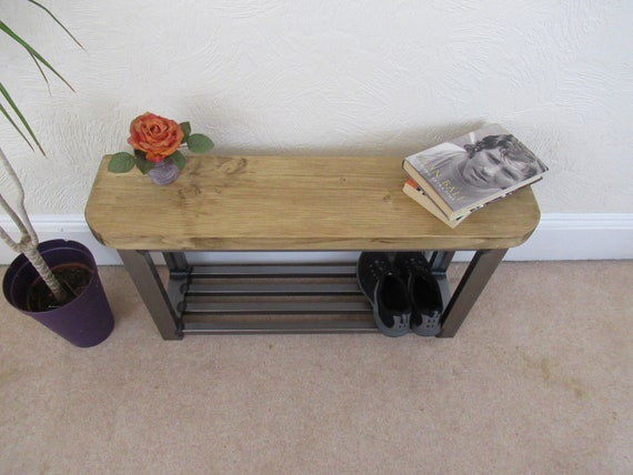 Peachy Hallway Bench Rounded Front To Bench Seat With Shoe Storage To Base Rustic Industrial Chic Theyellowbook Wood Chair Design Ideas Theyellowbookinfo