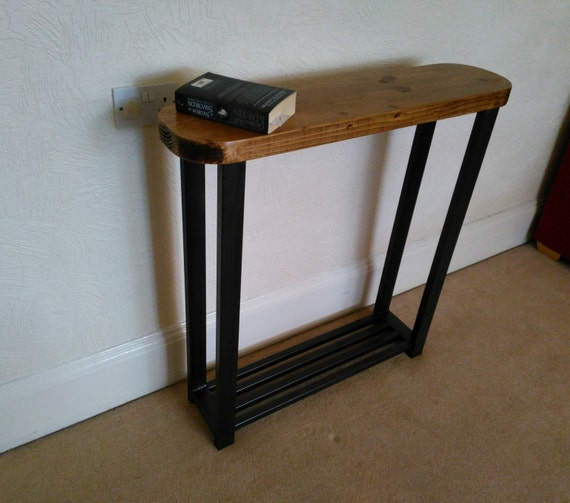 Console Table Rounded Edge Top With Metal Storage Shelf To Base For Shoes  Etc