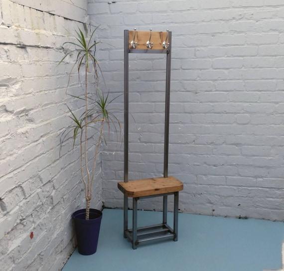 Mantelständer schmaler Flur, Bijou Garderobe mit Sitz und  Schuhaufbewahrung, ideal für Porch Industrial Chic Satin Nickel Haken