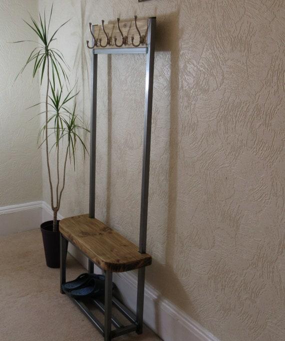 Coat stand narrow hallway coat rack 4 Satin nickel hooks