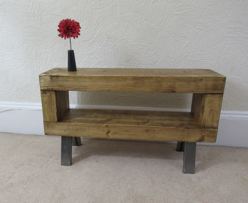 Slim Tv Stand Rustic Chunky Wooden Tv Unit With Metal Legs