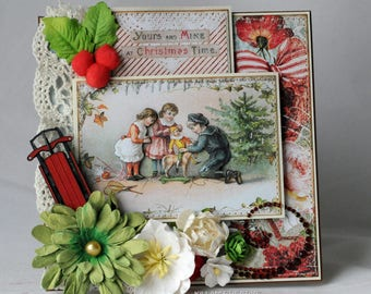 Yours And Mine At Christmas Time, Christmas Card, Vintage Theme, Red Sled, Christmas Card,  Greeting Card, Handmade Card, Layered Card