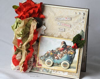 Yours And Mine At Christmas Time, Christmas Card, Vintage Theme, Greeting Card, Handmade Card, Layered Card