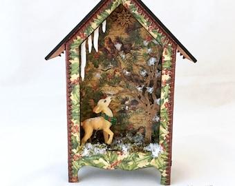 Winter Woods, Window View, Deer, Winter Wonderland, 3D, Assemblage, Mixed Media